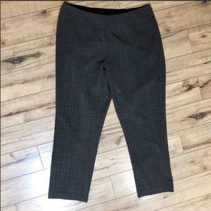 Investments brown windowpane pattern stretch pants